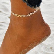 Женский многослойный браслет на щиколотке в богемном стиле, цепочка для ног, подвеска в виде волн, винтажный ювелирный аксессуар для ног(Китай)