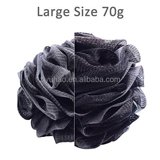 Bamboo Charcoal Bath Sponge with 2 Pack Exfoliating Loofah Pads, Large Mesh Pouf Bath Scrubber Creating Rich Lather, Natural Loo