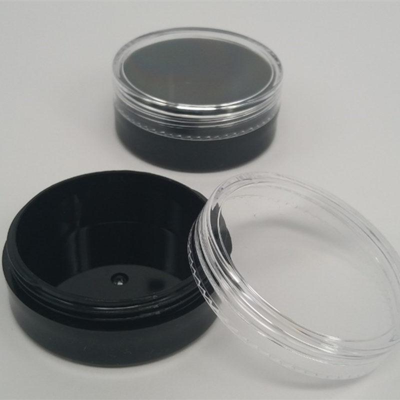 Schwarz sieb jar kosmetische pulver behälter, lose pulver puff box mit schraube abdeckung