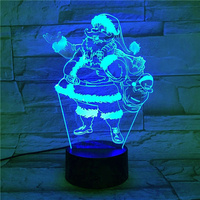 2019 Hot selling Christmas Father Santa Claus 3d Lamp night light table lamp for Gift