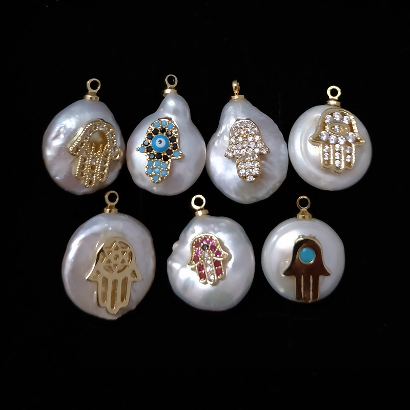 Natural white baroque pendant hand shape style cz micro freshwater hamsa pearl pendants necklace price designs jewelry