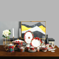 Luxury Dinner Sets Hand Painting Real Glod Fine Bone China Dinner Sets