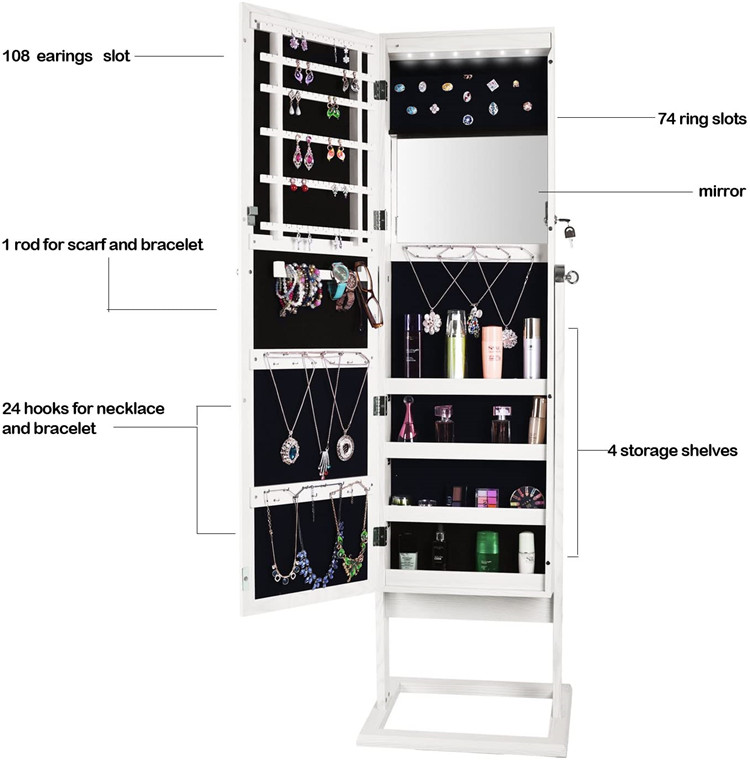 Fashion Durable Wooden Floor Mirror Jewelry Cabinet