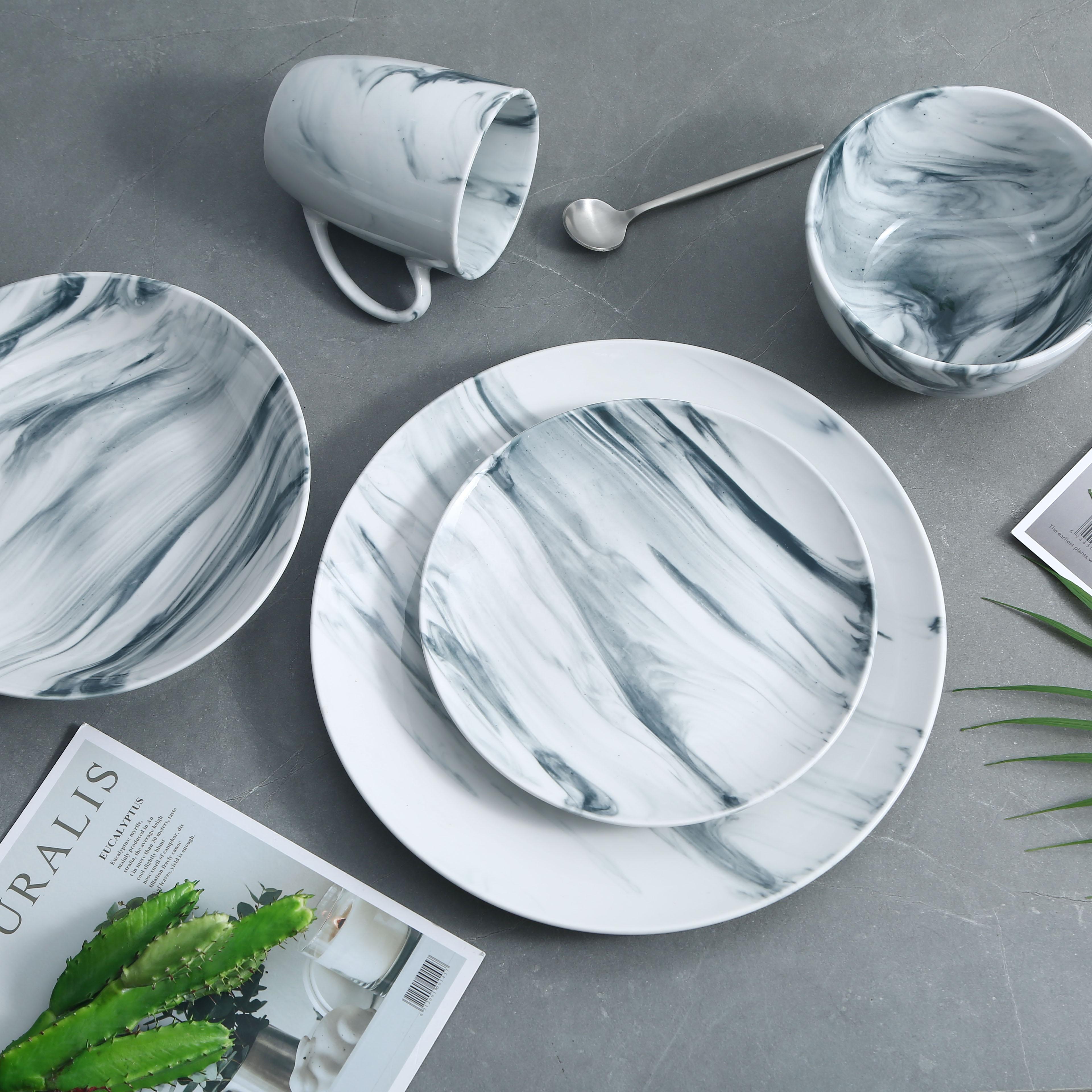 20 pièces de vaisselle de forme ronde de style frais
