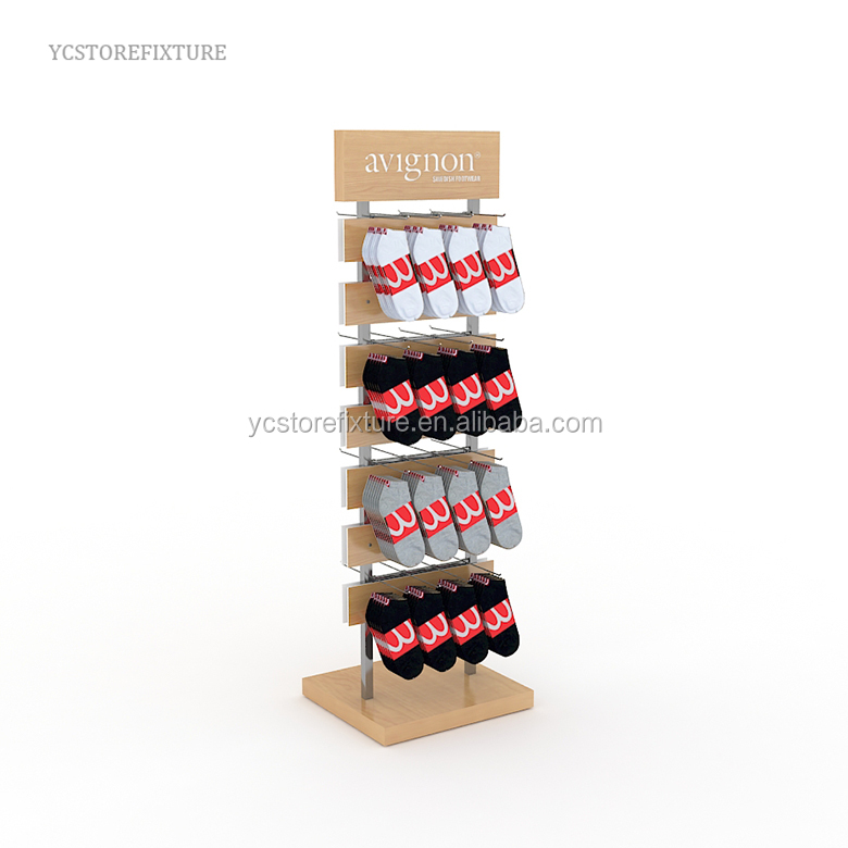 Factory directly supplies multi-level wooden sock floor display stand