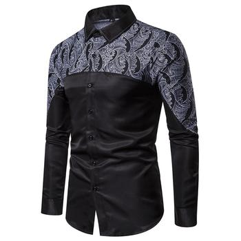 Long Sleeve Men Casual Shirts Elegant Patchwork Design Black Color Printed Dress Shirt Smooth Texture Slim Fit Social Shirt