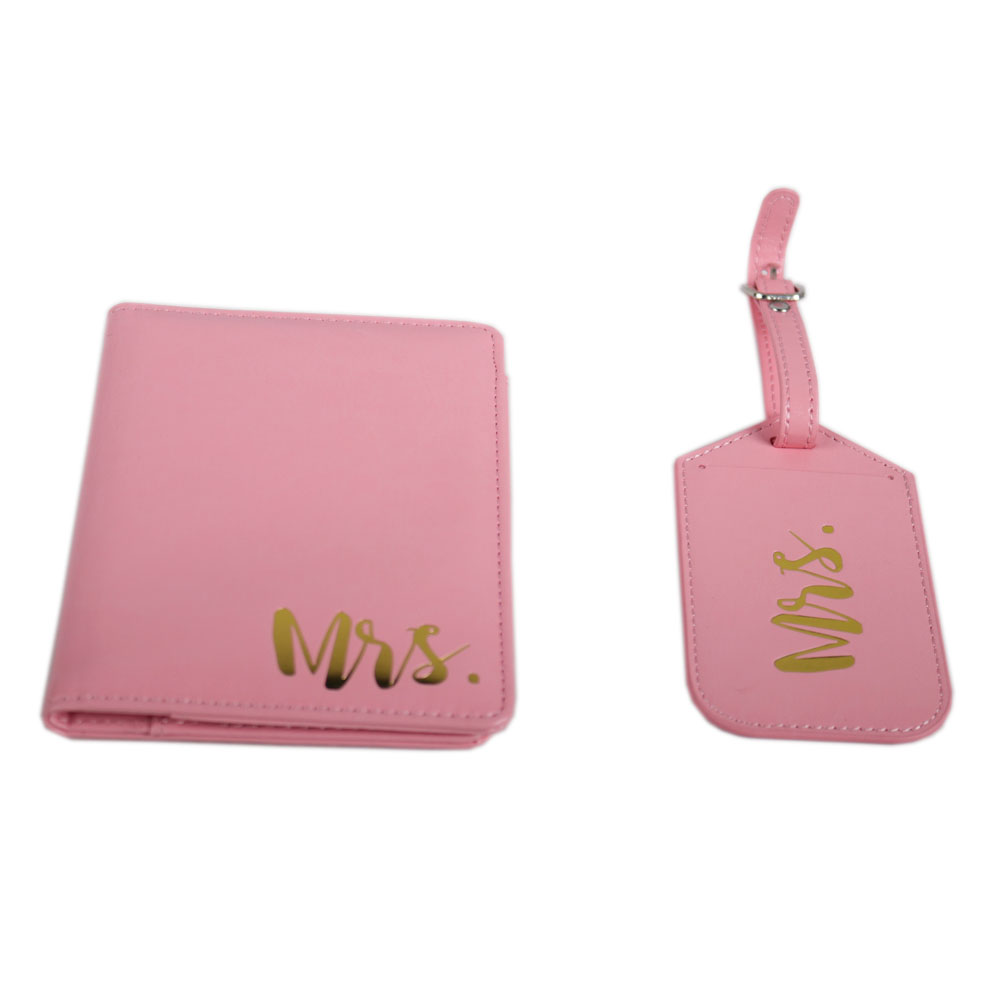 Newest Design Make Your Own Logo PU leather pink Passport Cover And pink Luggage Tag Gift Set