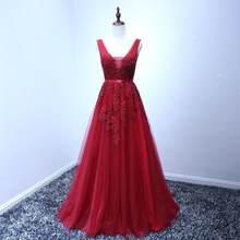 SWEMILE кружевное длинное вечернее платье 2020 Vestido De Festa с двойным v-образным вырезом Аппликация Выпускные платья Robe De Soiree(China)