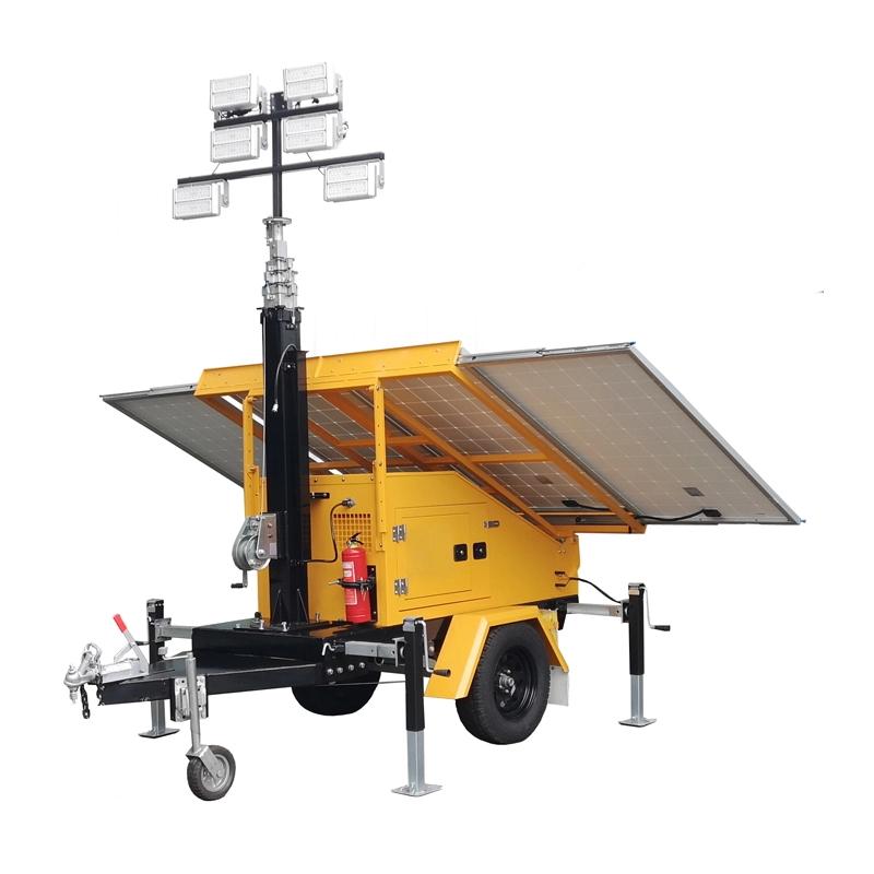 Mobile Trailer Cctv Camera Simple Powered Portable Power Lighting Emergency Telescopic Mast Surveillance Solar Light Tower