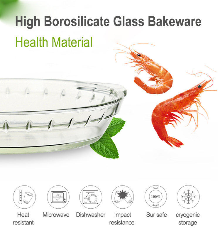 Oven safe Deep Pie Baking Dish  9 inch glass Bakeware  Customized borosilicate bakeware gift