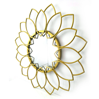 60cm flower shape gold metal framed wall hanging decorative mirror for living room