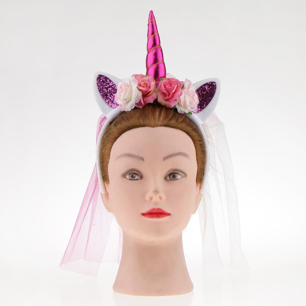 2/pack Girls Pink Flower Unicorn Horn Headband With Veil Party Fancy Dress