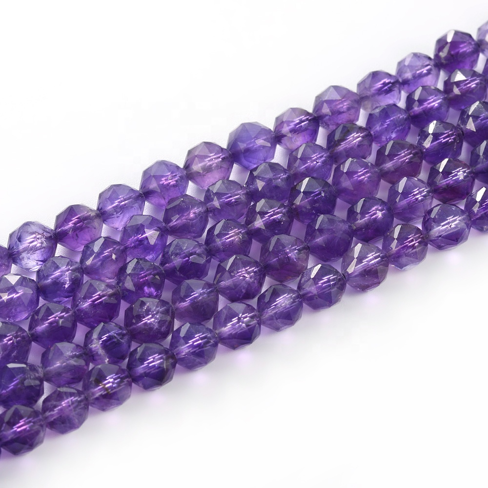 Cliobeads special design natural loose gemstone Amethyst shining star cut faceted round beads strand for jewelry making