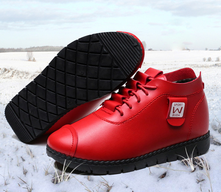 Cheapest women's leather red ankles boots women formal work winter shoes