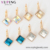 80363 XUPING Crystal from Swarovski rhombus design leverback gold crystal earrings for ladies