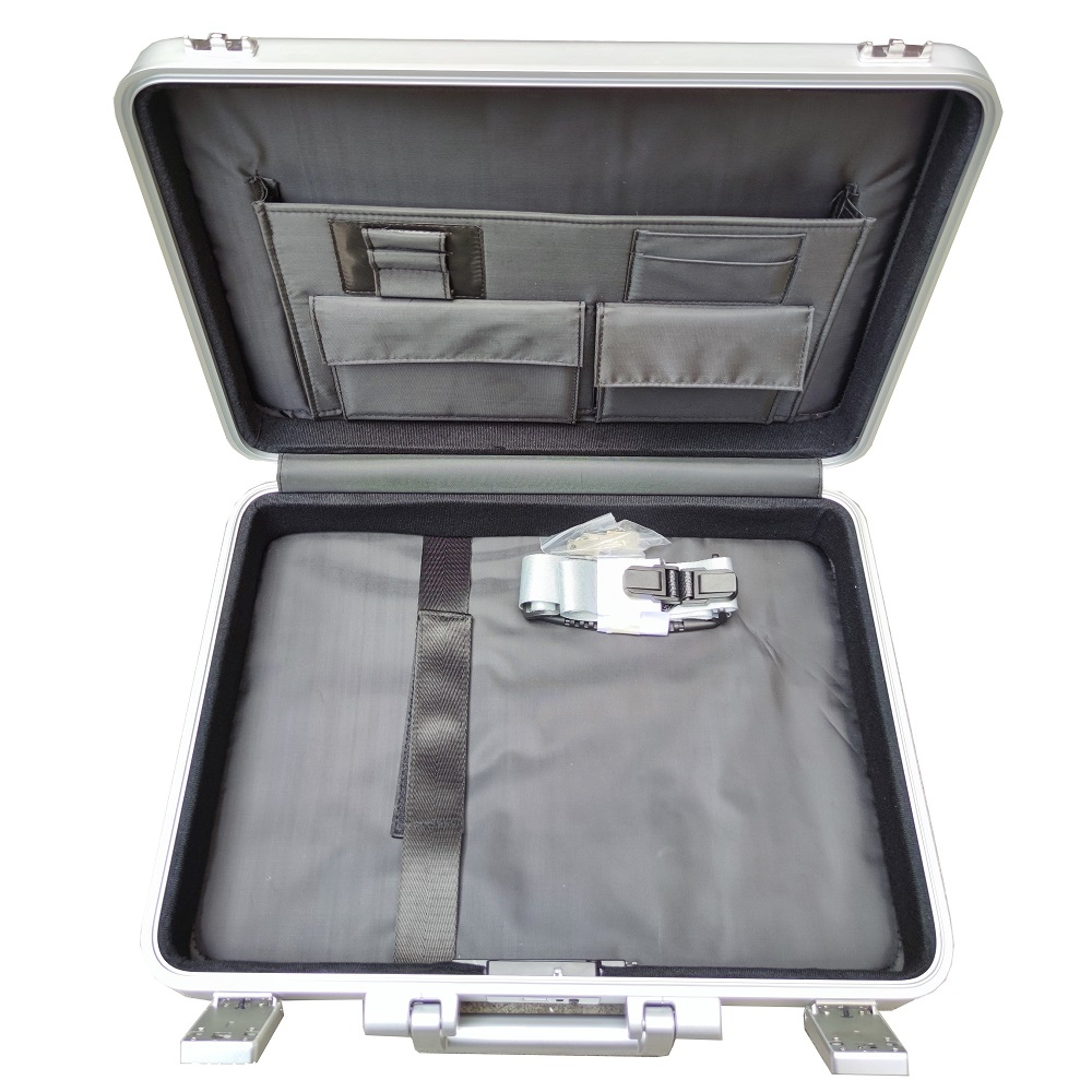 Custom aluminium metall harte shell laptop attache fall business aktentasche organizer mit fingerprint lock