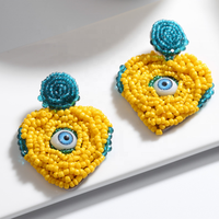 Kaimei 2020 new hot selling fashion bohemian jewelry heart shape yellow beaded eye shape boho beads tassel earrings for women