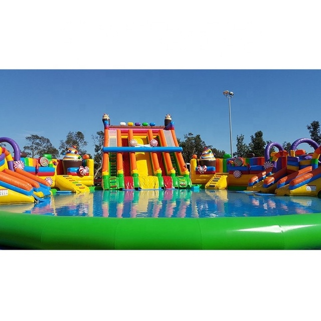 Summer Holiday Kids Amusement Park Candy Slide Swimming Pool Movable Inflatable Water Park for Sale