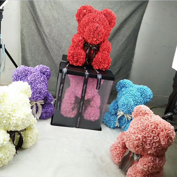 Best Gift 19 Colors 40cm PE Artificial <strong>Flower</strong> Rose Teddy Bear for Valentine