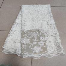 Африканские кружева с блестками и вышивкой, текстильные кружевные ткани высокого качества, французский тюль, кружевные ткани для свадебной...(Китай)