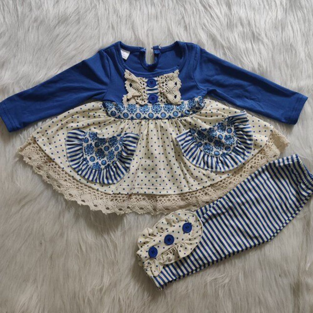 <strong>Girls</strong> Sets Fall And Winter Child Clothing <strong>Designs</strong> <strong>Girls</strong> Outfits two pockets lace dots striped Children Clothes