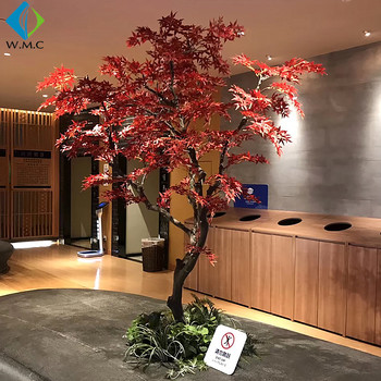 Artificial Autumn Maple Tree Faux Japanese Fire Red Leaves