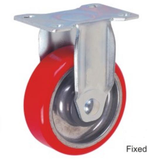 100mm de alta temperatura placa giratoria de freno Total banda de rodadura de caucho de aluminio horno Carro de ruedas