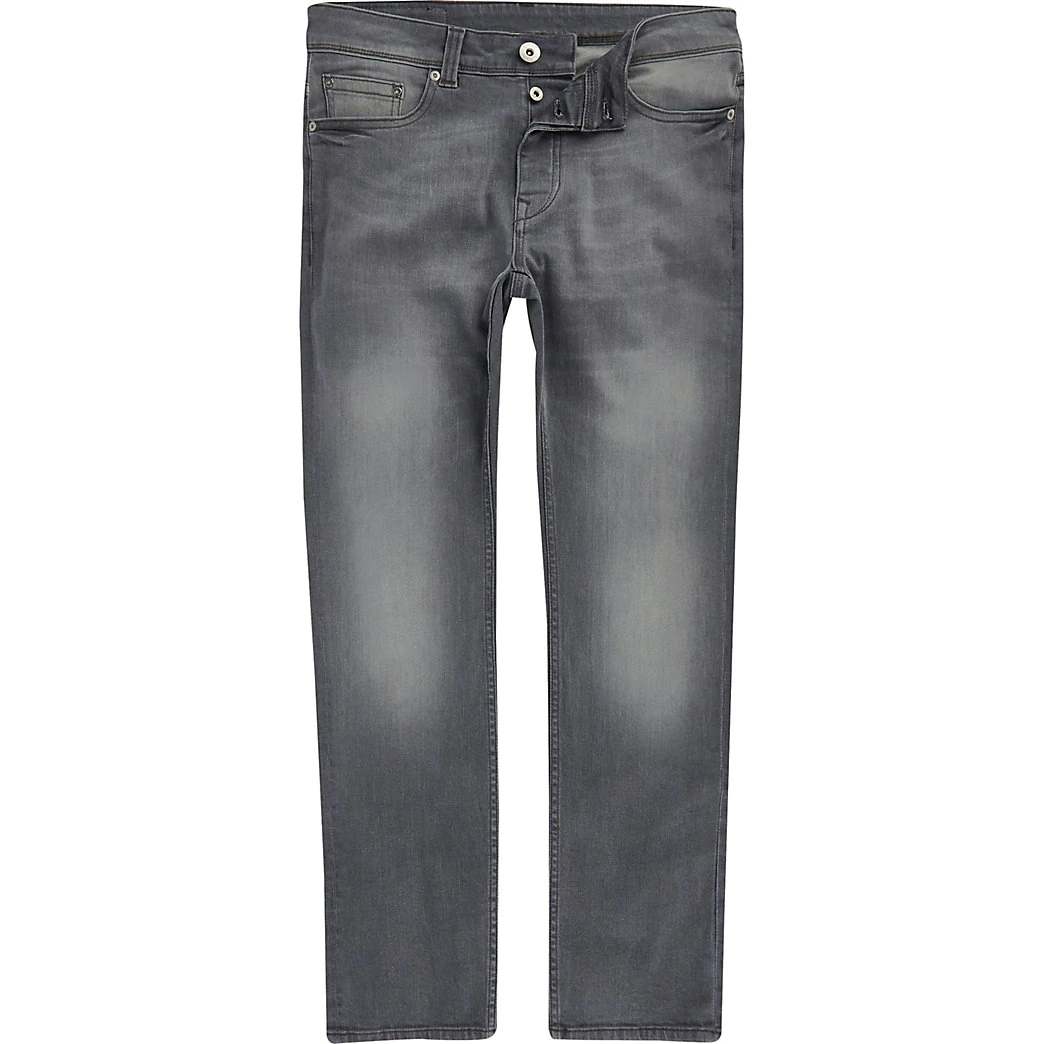 OEM Factory Fashion Grey Wash Stretch Denim Fade Detailing Button Fly Fastening Jeans Men