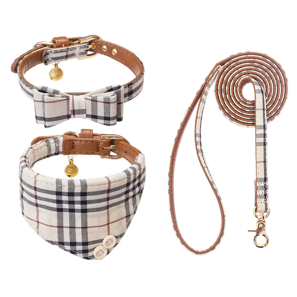 Classical Plaid Soft Padded Dog Collar and Leash for Pet Cat Dog Leash Collar Set Cat Bandana Set