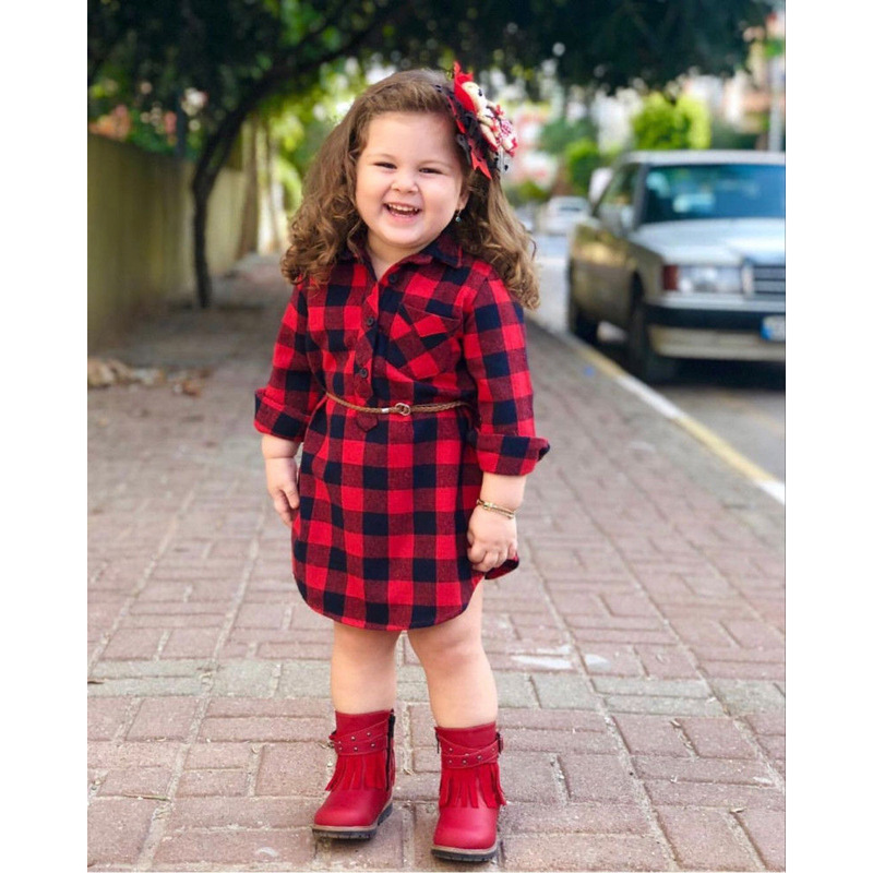<strong>Kids</strong> <strong>Girls</strong> Long Sleeve <strong>Kids</strong> Shirts <strong>Fashion</strong> <strong>Girl</strong> Red Plaid Dress With Belt Children Vestidos Causal Dress for Christmas