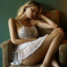 Кавайная женская ночная рубашка с кружевной цветочной вышивкой на ремешке, Женская белая прозрачная Сексуальная Домашняя одежда принцессы...(Китай)