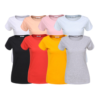 Stock and Printing Factory in Europe Tops Woman Basic multi-color blank plain custom summer short sleeve t shirts tops