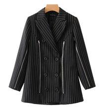 Женский двубортный блейзер в черную полоску [DEAT], новая свободная куртка с длинными рукавами и лацканами, весна-осень 2020, 13T822(Китай)