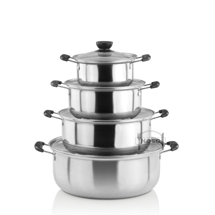 8-Piece wholesale kitchen bakelite handle stainless steel cookware set pot cooking with glass lid