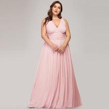 Длинное шифоновое платье подружки невесты размера плюс с принтом, элегантное платье-трапеция без рукавов с v-образным вырезом для свадебной...(Китай)
