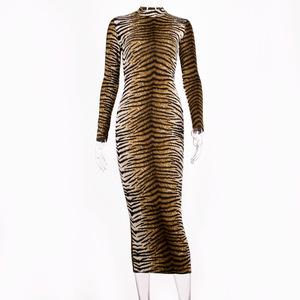 Leopard print long sleeve slim bodycon sexy dress 2019 autumn winter women streetwear party festival dresses outfits
