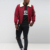 Custom Winter Fashion Nylon Burgundy Mens Shearling Bomber Jacket wholesale