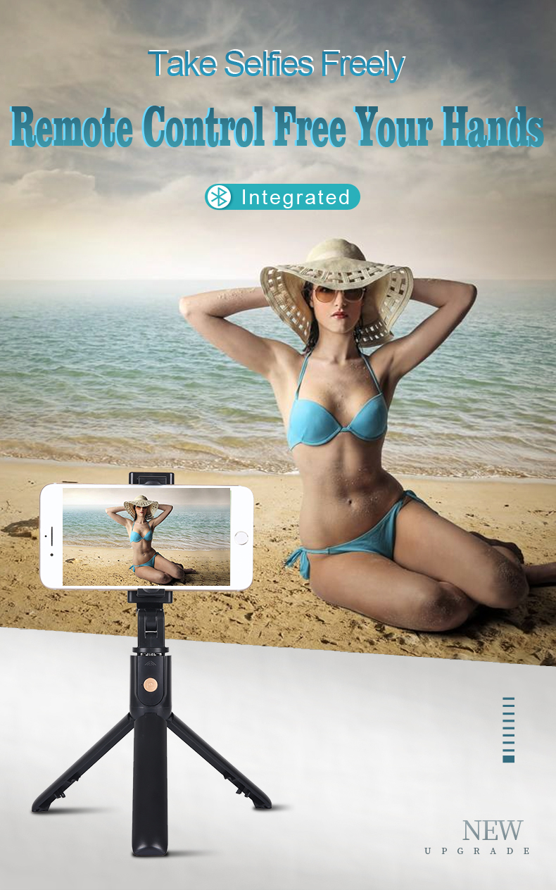 K10 Bluetooth Flexible Smart 360 Degree Remote Control Selfie Stick Tripod With Mirror For Live Photo Holder