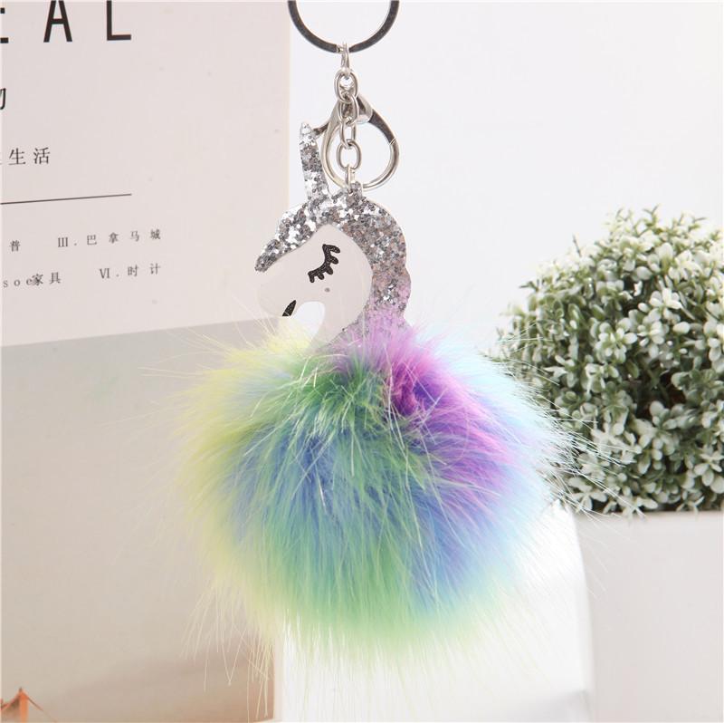 צבעוני unicorn מפתח שרשרת PU פרווה כדור תליון קשת מפתח שרשרת