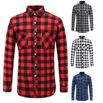 Custom Plaid Flannel Man Shirt Long Sleeve Men Casual Designer Shirt