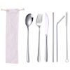 6pcs silver cutlery & white bag