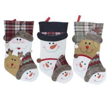 Made In China Superior Quality Canvas Christmas Stockings, 	Christmas Socks Gift Candy Bag