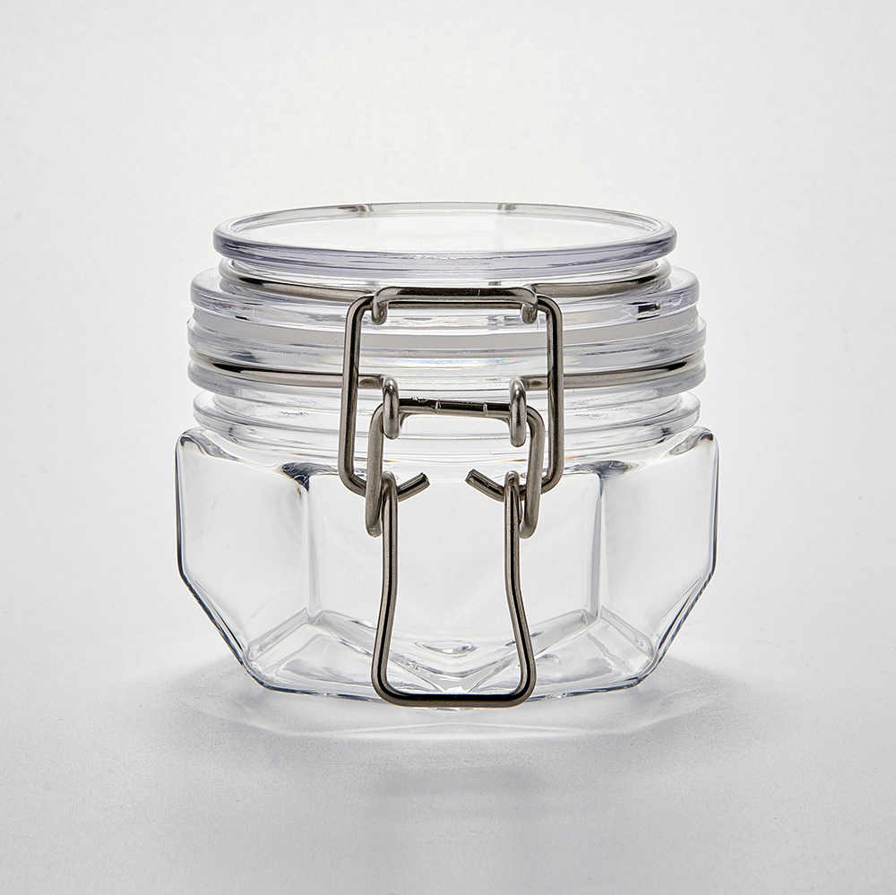 Empty Hexagonal Plastic storage Jar 120ml 4oz Cosmetic Jar plastic with Stainless steel clip Lock Lid