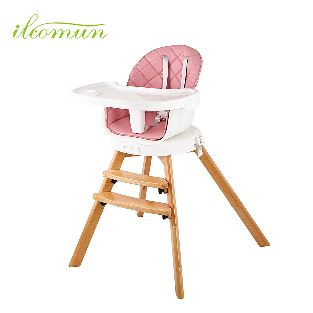 Best Price high quality Wooden Baby Kids Highchair multi-functional En14988 Baby Feeding dining High Chair