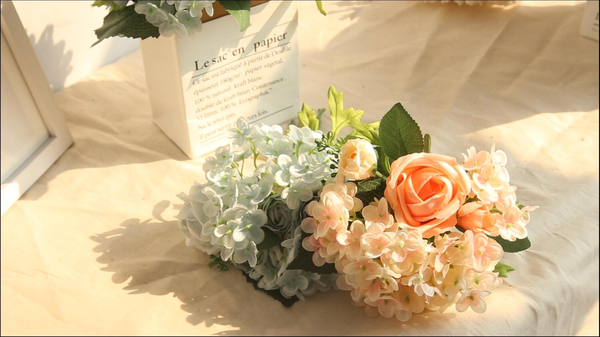 Silk Artificial Rose Hydrangea Bouquet Arrangement For Wedding decoration