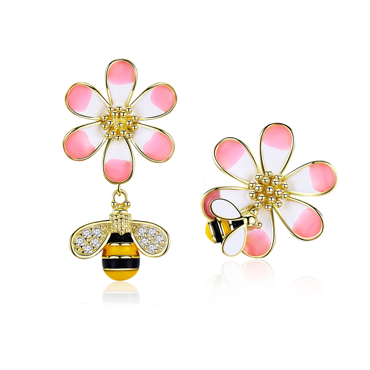 2019 Qings ODM/OEM Bee <strong>Flower</strong> <strong>Earrings</strong> 925 Sterling Silver Plated <strong>Gold</strong> Zircon Stud <strong>Earrings</strong> With Modern Design