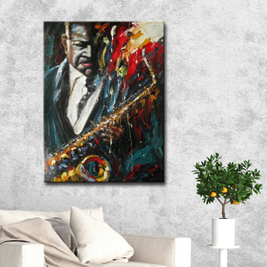 Jazz Figure Mass Product Modern Fine Acrylic The Newest Hotel Decoration Oil Wall Art Musician Painting