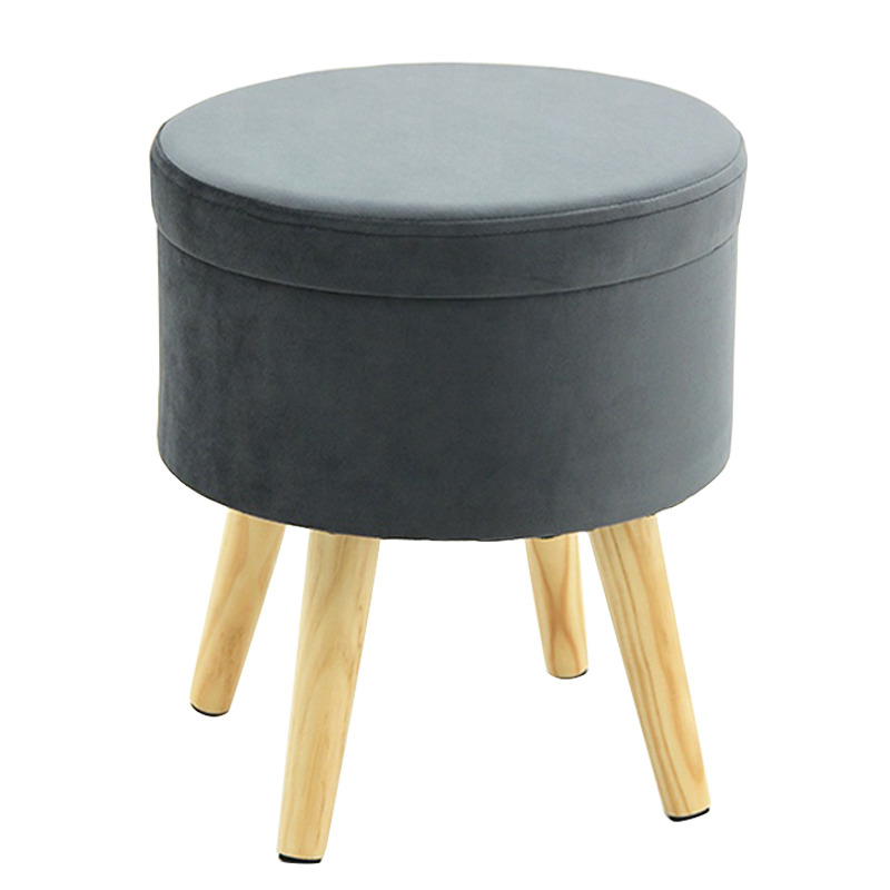 grey storage box ottoman foot round wood stool chairs