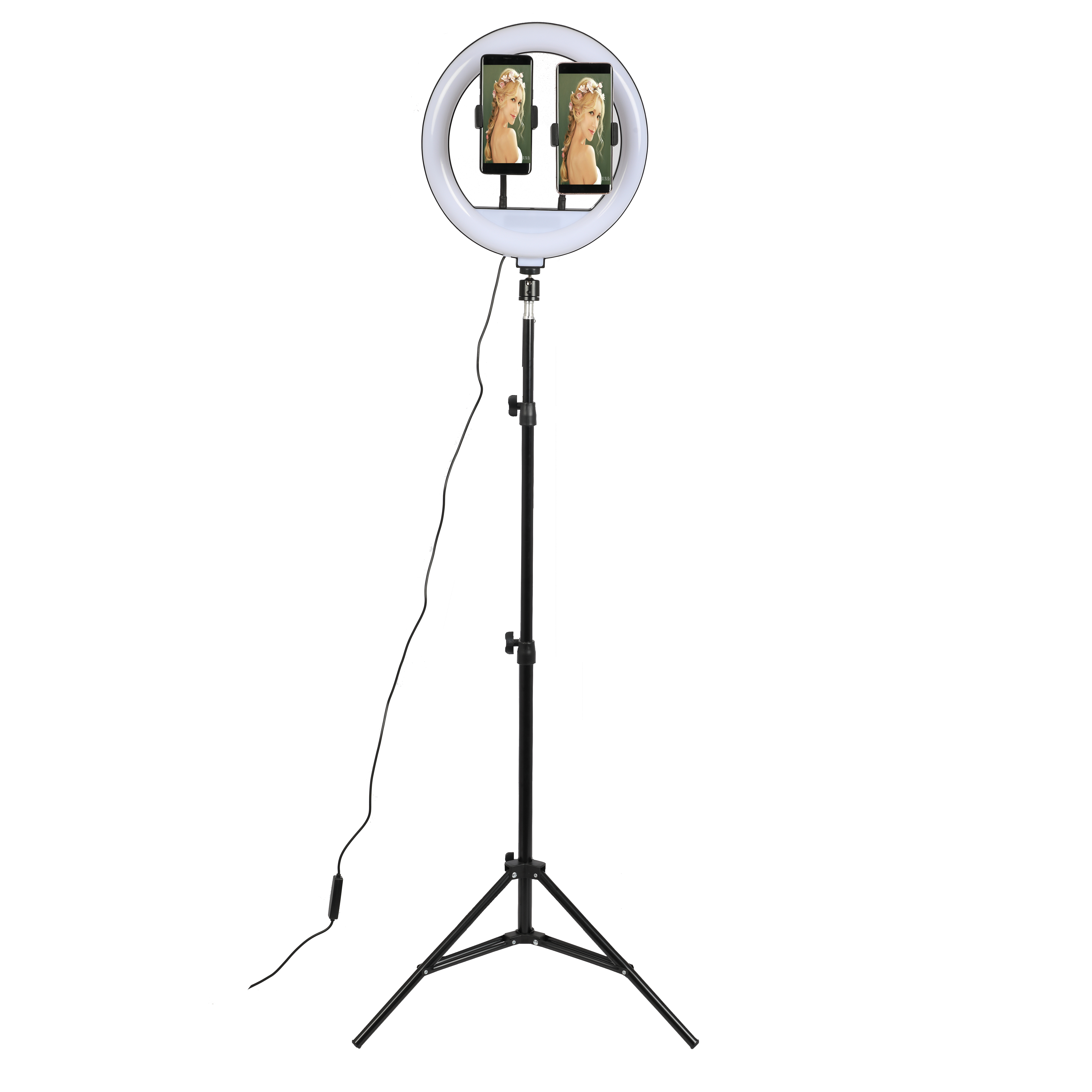 12 inch ring light with 1.6m tripod stand ,make up studio video live broadcast three colors dimmable led lamp