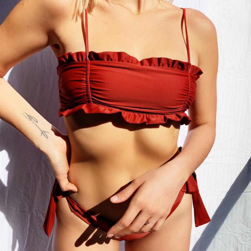 Alibaba.com / Custom Logo Latest design Sexy Swimwear Beachwear Private Label Swimsuit Solid Red Two Pieces Bikini